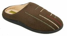 Mens Warm Lined Mule Slippers Brown Coolers