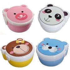 Two Layers Cartoon Plastic Lunch Meal Bento Food Box Spoon Microwaveable