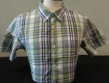 NEW MENS OAKLEY PLAID S/S BUTTON-DOWN WOVEN SHIRT, WHITE/GREEN, PICK A SIZE, $75