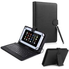 "For Android 7"" Tablet Universal Kickstand PU Leather USB Keyboard Box Case Black"