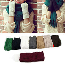 Unisex Men Women Knitted Fingerless Gloves Winter Soft Warm Mitten Solid US Ship