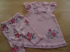 100%Cotton 2 Pcs Embroidered Broderie Anglaise Trim Pink Dress&Leggings 0-3-6-9m