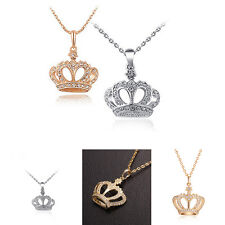 Women's Classic Gold Plated Crown Pendant Rhinestone Chain Necklace Jewelry EP
