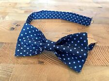Blue Polka Bow Tie & Pocket Square- Handmade Gifts For Him Wedding Bow Tie Uniqu
