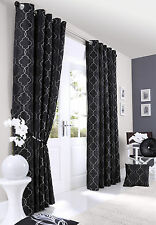 Pair of Black Midtown Embroidered Faux Silk Fully Lined Eyelet Curtains BNIP