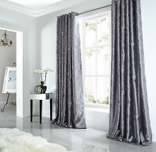 Pair of Silver/Grey Midtown Embroidered Faux Silk Fully Lined Eyelet Curtains BN