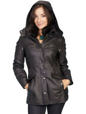 Scully Women's Leather Jacket With Removable Hood. Black