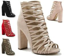 LADIES ANKLE BOOTS ZIP PEEP TOE BLOCK HEEL FAUX SUEDE CUT OUT ANKLE SHOES 3-8