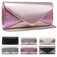 LADIES SHIMMER FASHION CLUTCH BAG SHOULDER PURSE EVENING DESIGNER QUALITY SMALL