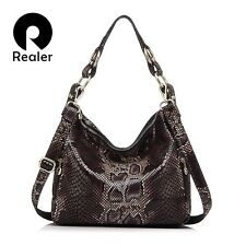 REALER brand women handbag genuine leather tote bag female classic serpentine pr