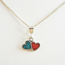 Turquoise & Red Double Heart Ster. Silver Pendant Charm & Necklace-Free Shipping