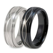 Size 3 -18 Infinity Knot Silver or Black Mens Titanium Wedding Band Ring