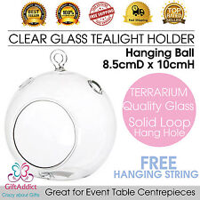 Clear Round Glass Tealight Candle Holder Hanging Globe Ball 8*10cm Terrarium NEW