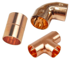 22mm END FEED 2,5,25 PACK ELBOW,TEE,COUPLING COPPER FITTINGS,PLUMBING HOT WATER