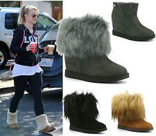 Womens Ladies Ankle Flat Fluffy Detachable Faux Fur Short Boots Warm Shoes