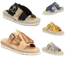 LADIES WOMENS LOW WEDGE HEEL SLIP ON SUMMER TASSEL SANDALS FLATFORM SHOES SIZE