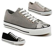 LADIES WOMENS GIRLS FLAT LACE UP PLIMSOLLS PUMPS SNAKESKIN TRAINERS SHOES SIZE