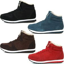 New Leather Simple Fashion Athletic Winter Warm Lace Up High Top Womens Shoes