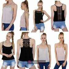LADIES WOMENS NEW CAMISOLE STRAPPY LACE BACK FRONT INSERT DETAIL TOP 8-16