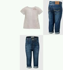 Baby Girls Denim Jeans & Waffle White Top Outfit. Age 3 6 9 12 18 24 Months