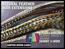 Natural Feather Hair Extensions Grizzly Feathers Tools Beads 100% Real 5XL 1FREE