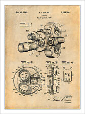 1938 Bell & Howell Movie Camera Patent Print Art Drawing Poster 18X24
