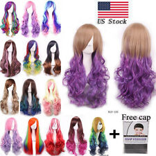 Long Straight Wig Cosplay Party Costume Anime Hair womens Fashion Full Wig 80cm