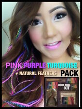 Feather Hair Extensions Grizzly Naturals PINK PURPLE TURQUOISE XXXL 20 LONG 4FRE
