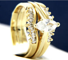 New Stainless Steel 1.62 CT Solitaire CZ Engagement Wedding Band Ring Set