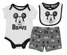 "Disney Mickey Mouse Newborn Infants ""Brave"" 3 Piece  Set with  Bib"
