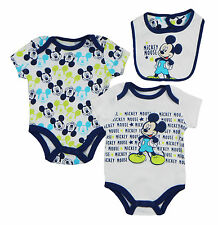 Disney Mickey Mouse Heads Newborn Infants 3 Piece  Set with  Bib