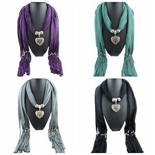 Women Hollow Peach Heart Pendant Scarf Tassel Necklace Jewelry Scarves Gifts New
