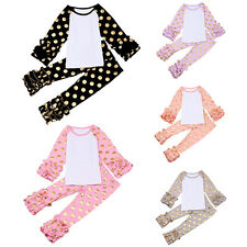 Baby Toddler Girl Polka Dot Icing Ruffle Tops T-Shirt Pants Trousers Outfit Set