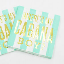 ✧ Gold Foil Print 'Where's My Cabana Boy?' Napkins✧ Party Lounge ✧ Pack of 10 ✧