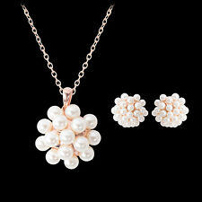 Women Luxury Faux Pearl Pendant Chain Necklace Stud Earrings Jewelry Set Sweet