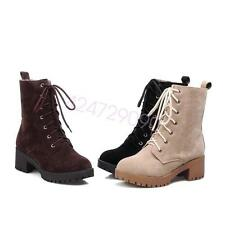 NEW Womens Ladies Low Heel Mid-Calf Boots Shoes Cuban Lace Up AU Size YB5192