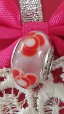 Pandora Charm Murano Glass Pink Red Flowers for You Authentic Bead 925ALE 790647