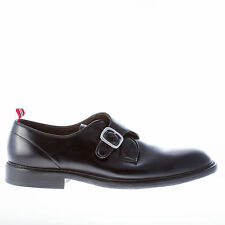 GREEN GEORGE men shoes Black leather monk strap shoes handmade in Italy