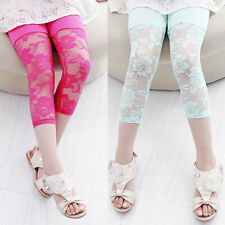 New Kids Girls Cropped Leggings Lace Cotton Stretch Capris Tight Pants Trousers