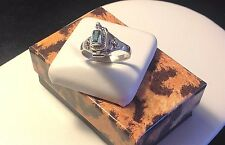 Blue Topaz Poison Ring-Sterling Silver 925-Emerald Cut-Secret Compartment-Opens