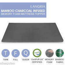 "2"" Twin/Full/Queen Bamboo Charcoal Infused Memory Foam Mattress Bed Topper Pad"