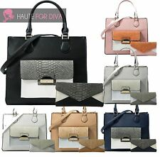 Ladies New Faux Leather Bag Purse Wallet Shoulder Snakeskin Contrast Matching