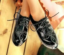 Hot Sell Womens Lace Up High Punk Checker Platform Flats Creeper Shoes Size5-10