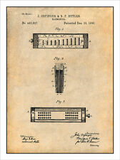 1890 Harmonica Patent Print Art Drawing Poster 18X24