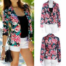 Womens Autumn Casual Long Sleeve Floral Blazer Suit Short Jacket Coat Outwear