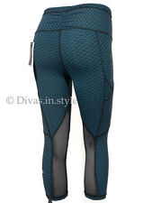 "NWT LULULEMON Mesh Panel Outrun 17"" Crop Pants IOSJ/BLK Indian Ocean Sold out"