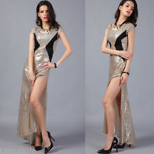 Luxury Gold Mermai short Sleeve Beaded Formal Prom Evening Wedding Party Dress