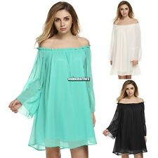Women Boat Neck Sexy Off Shoulder Boho Ruffle Sleeve Loose Chiffon Mini ONMF