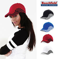 Beechfield Grand Prix Baseball Cap-Checked Formula One Racing Hat-100% Cottton