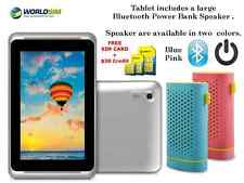 "7"" 3G SIM + WIFI ANDROID Tablet  UNLOCKED Cheap Basic &  Speaker with Power Bank"